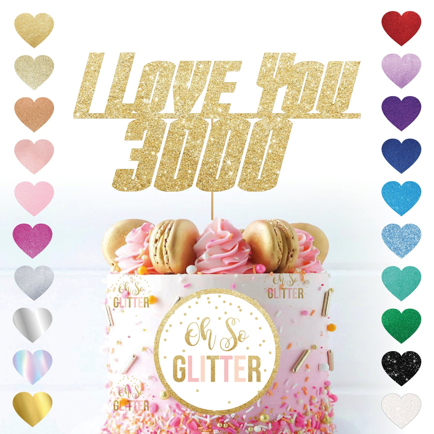 Image of Love You 3000 Glitter Cake Topper