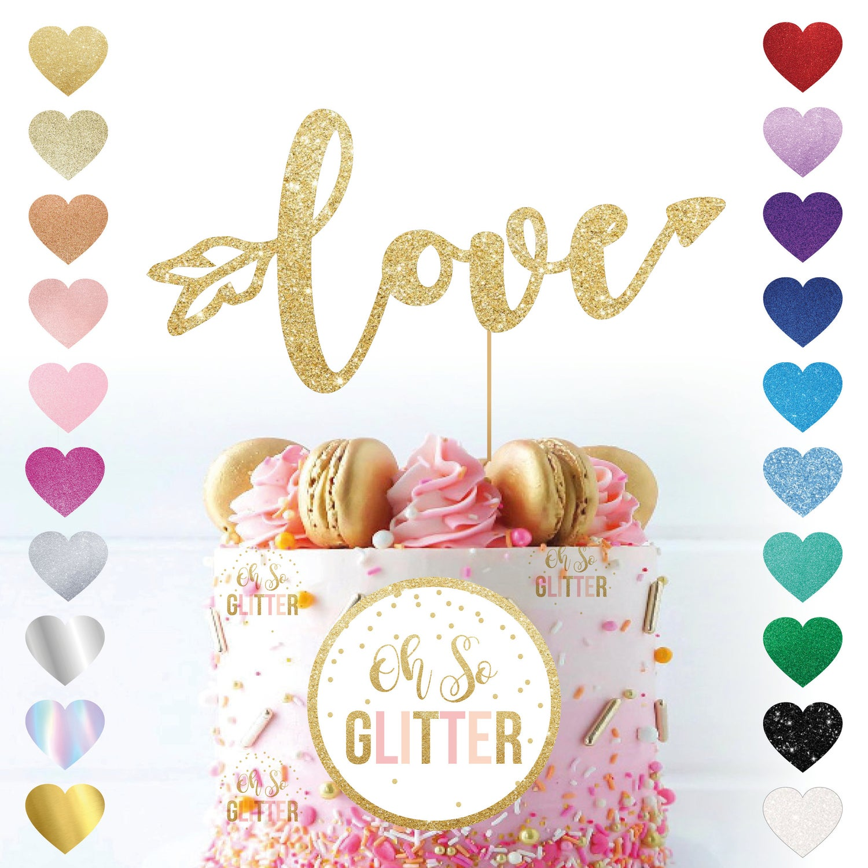 Image of Love Arrow Glitter Cake Topper