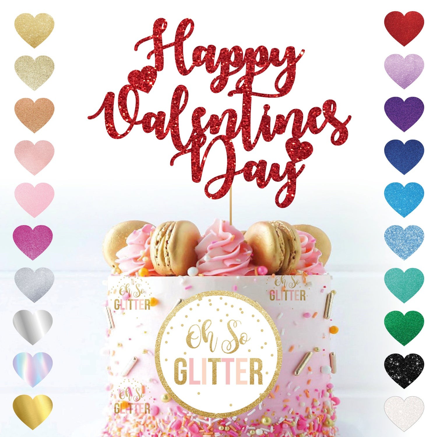 Image of Happy Valentines Day Swirly Glitter Cake Topper