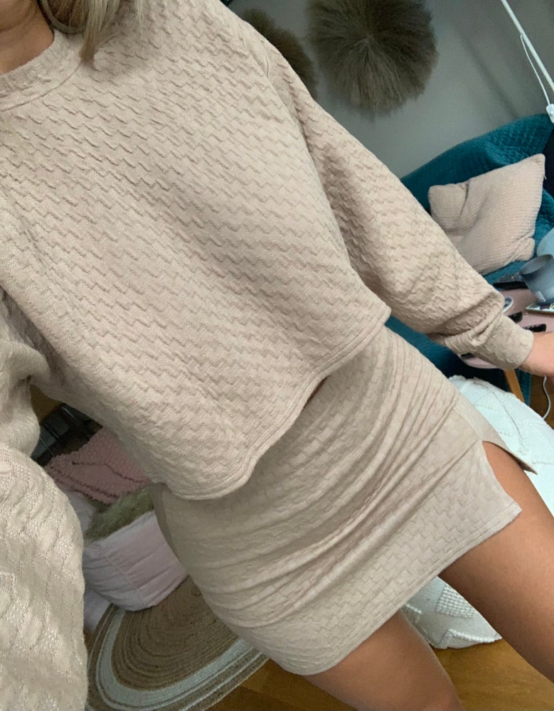 Image of Beige Textured Sweatshirt & Skirt Co-Ord