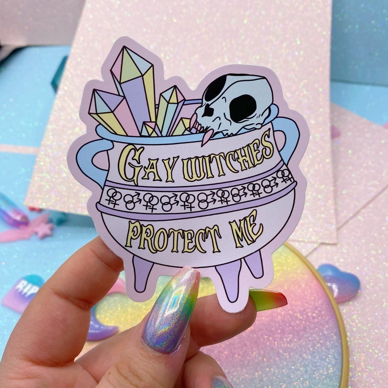 Image of Gay Witches Protect Me Large Vinyl Sticker