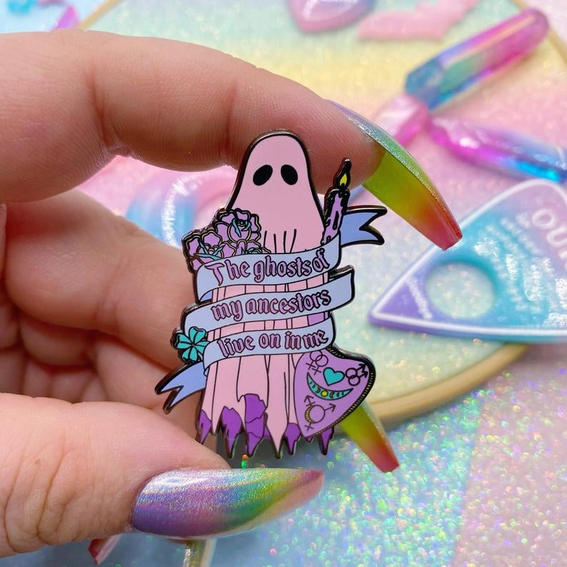 Image of The Ghosts Of My Ancestors Live On In Me Enamel Pin