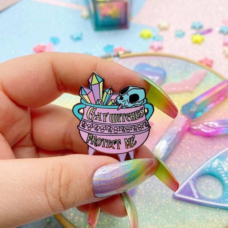 Image of Gay Witches Protect Me Enamel Pin
