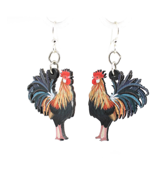 Image of Colorful Rooster Earrings