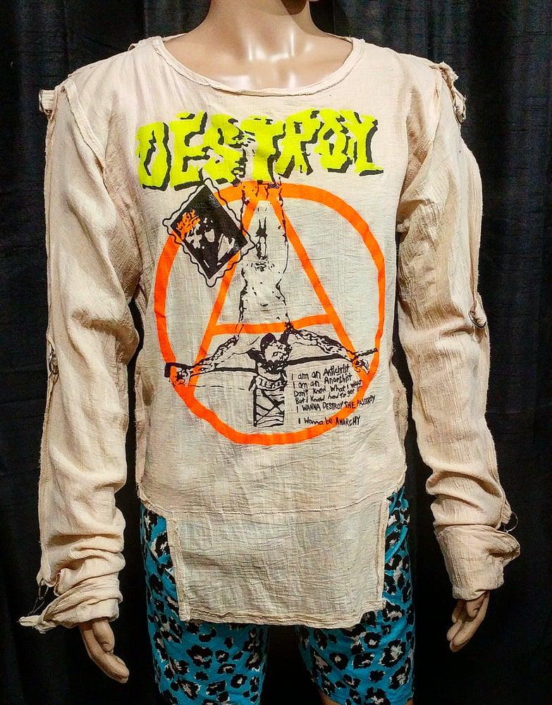 Image of DESTROY classic bondage shirt crucified jesus anarchist size Medium