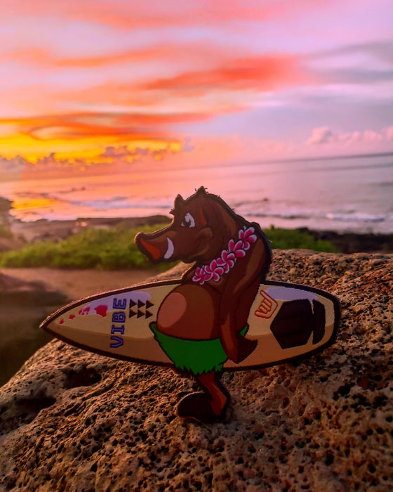 "Image of ""Bacon"" North Shores Surfing Pig"