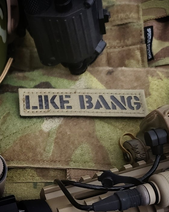 "Image of ""LIKE BANG"" laser cut tan"