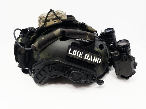 "Image of ""LIKE BANG"" laser cut multicam black/white gitd"