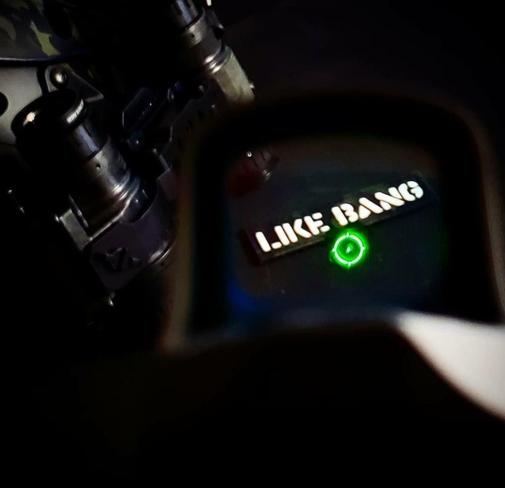"Image of ""LIKE BANG"" laser cut multicam black/white gitd"