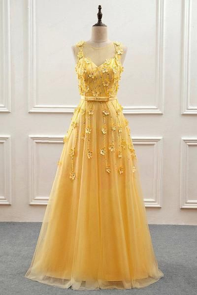 Yellow Tulle with Lace Flowers Long Prom Dress, Yellow Formal Dress Evening Dress
