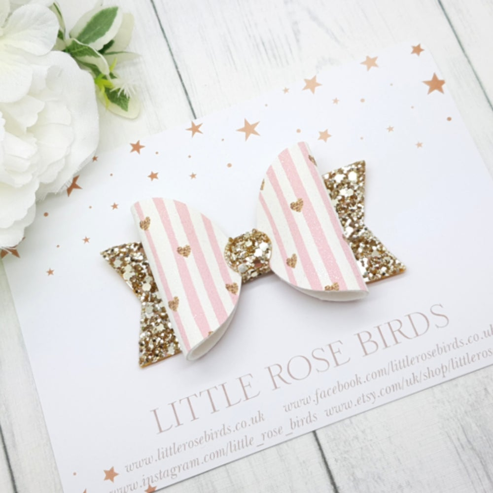 Image of Pink Stripes & Gold Heart Bow