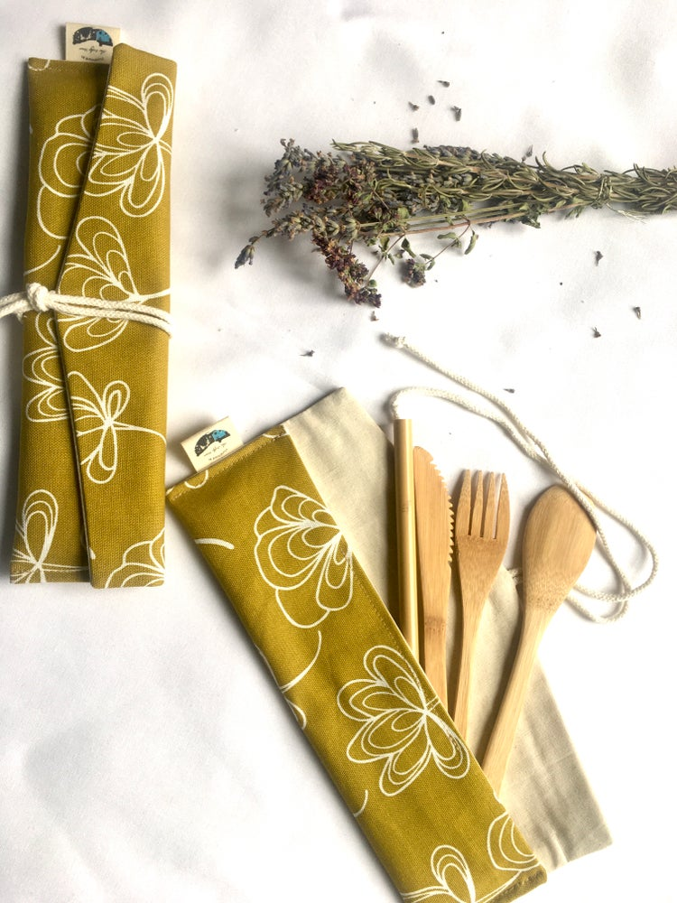Image of Cutlery Pouch and Reusable Bamboo Cutlery