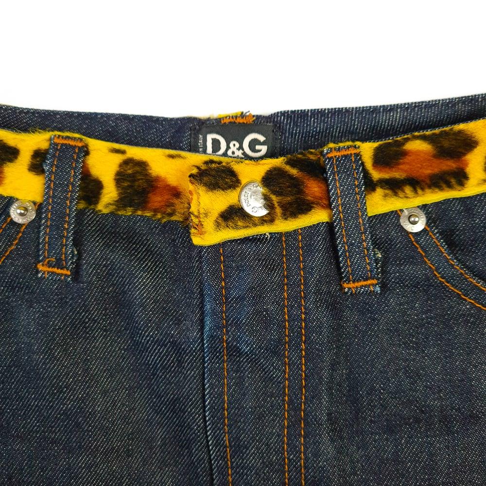 Image of Dolce & Gabbana Leopard Fur Denim Skirt