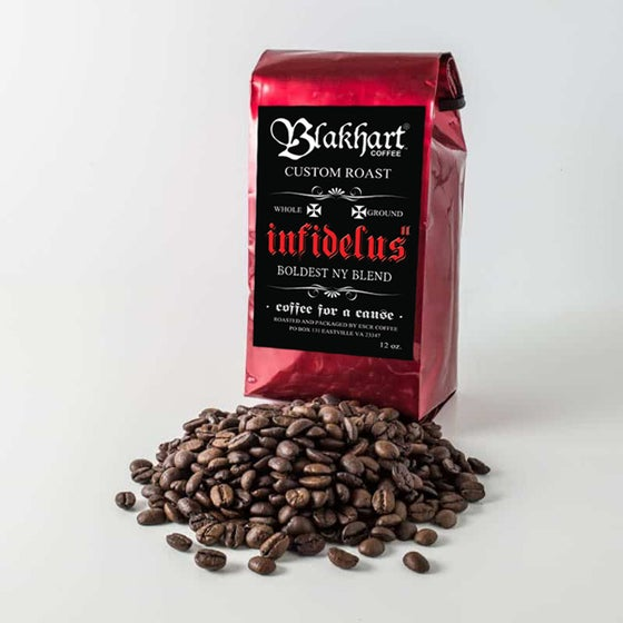 "Image of BLAKHART COFFEE™ ""INFIDELUS MKII"" NY BOLD BLEND 12 OZ. BLOOD RED BAG"