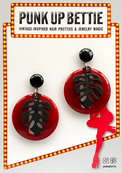 Image of Miss Monstera Deliciosa Earrings - Cherry/ Licorice