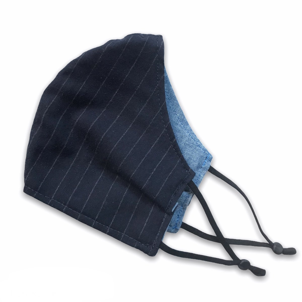 Image of FACE MASK - NAVY PINSTRIPE