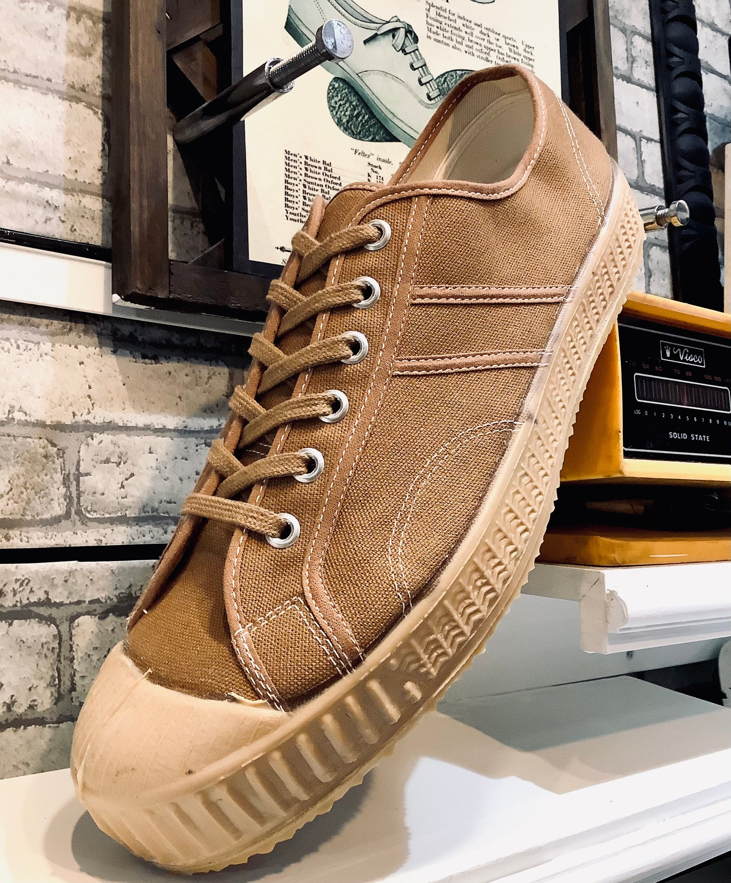 Image of VEGANCRAFT vintage lo top camel sneaker shoes made in Slovakia