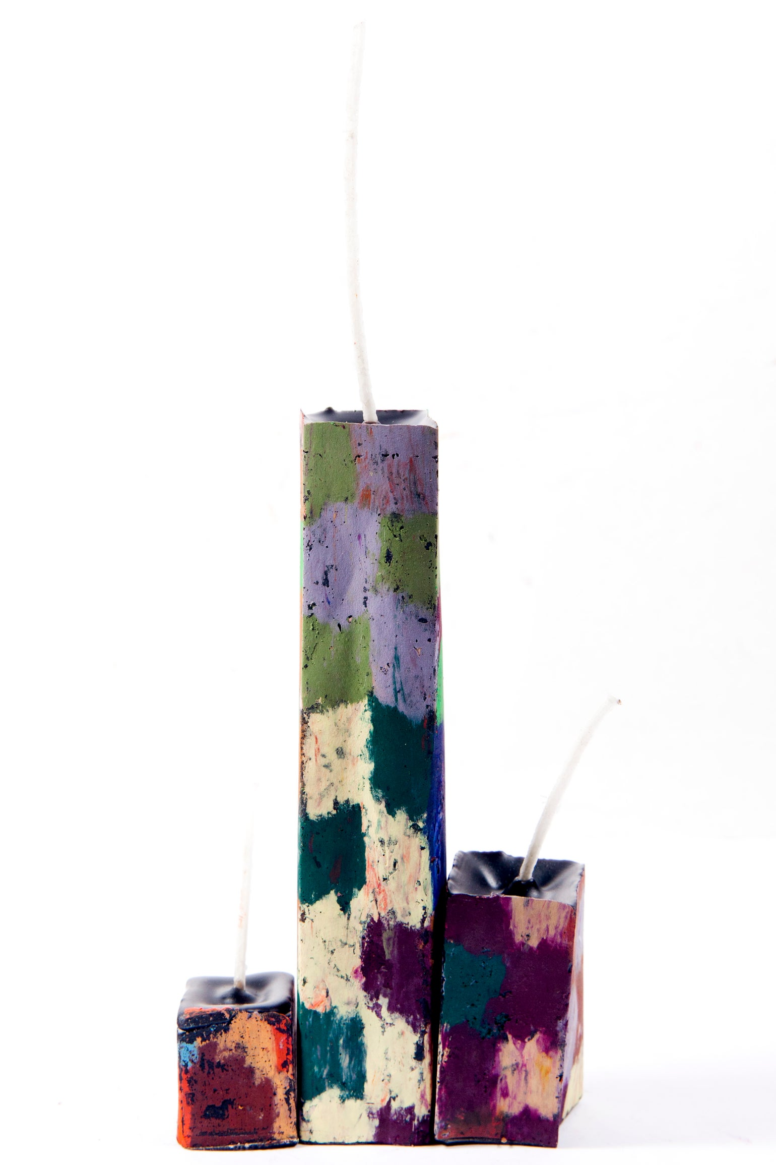 Image of Tower family in aubergine, baby blue, orange, emerald, brown, lilac, soft yellow, grey & reds