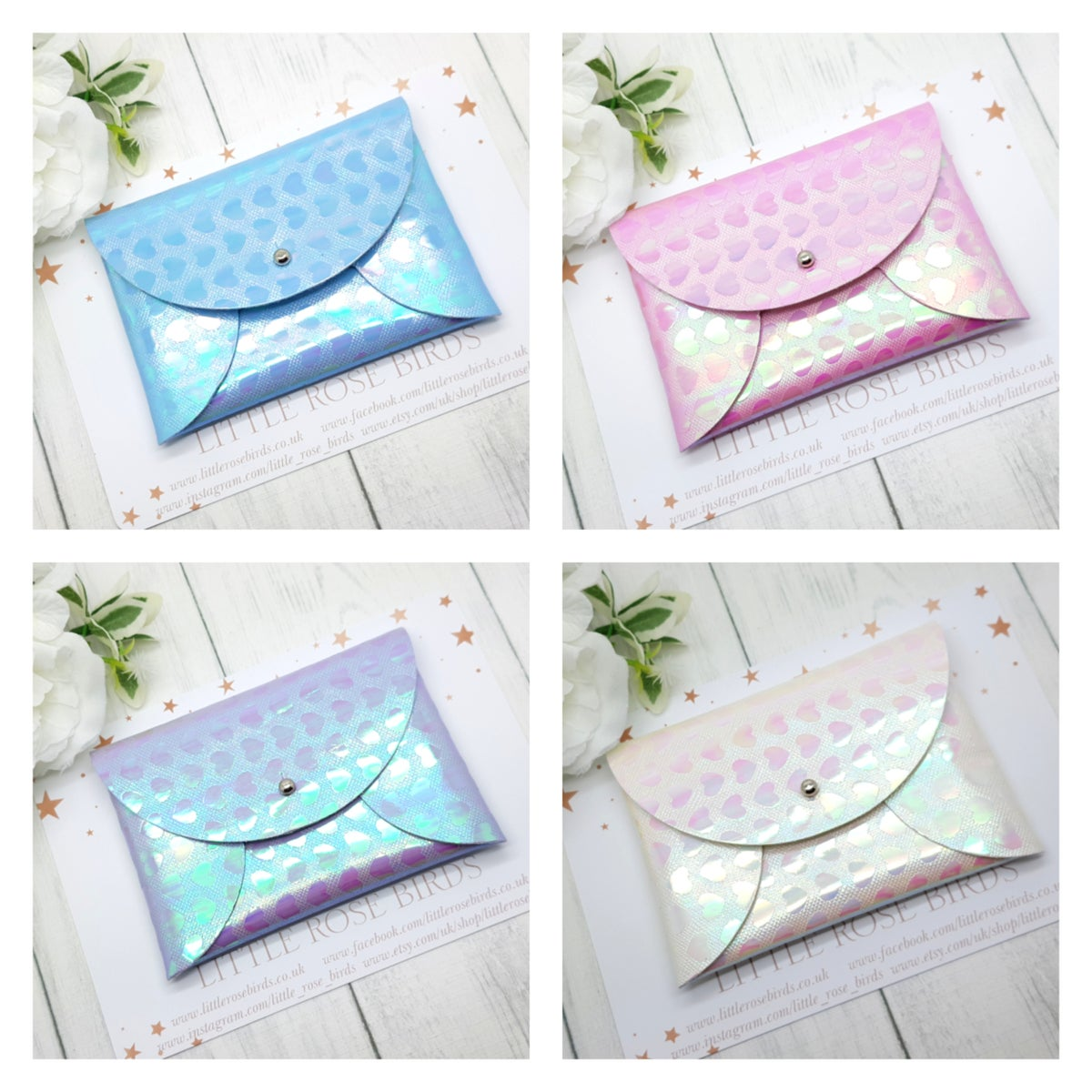 Image of Metallic Heart Pouch Purse -  4 Colours