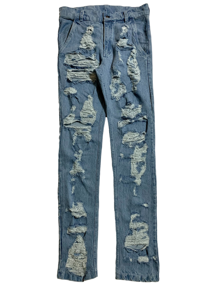 Image of DESTROYED DISTRESSED LIGHT BLUE DENIM SKINNY JEANS