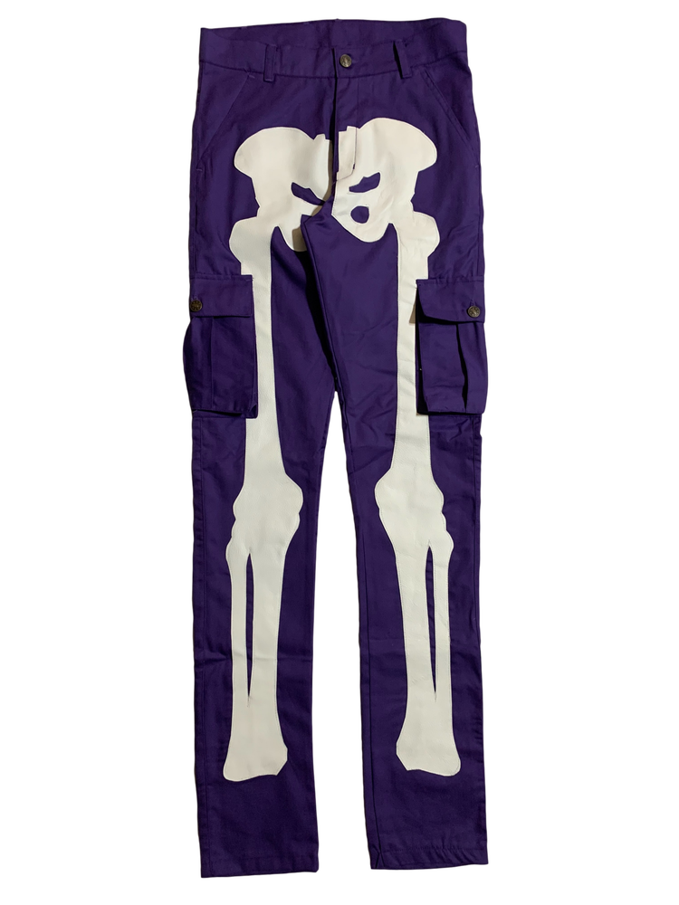 Image of PURPLE SUPER SKINNY BONES CARGO PANTS