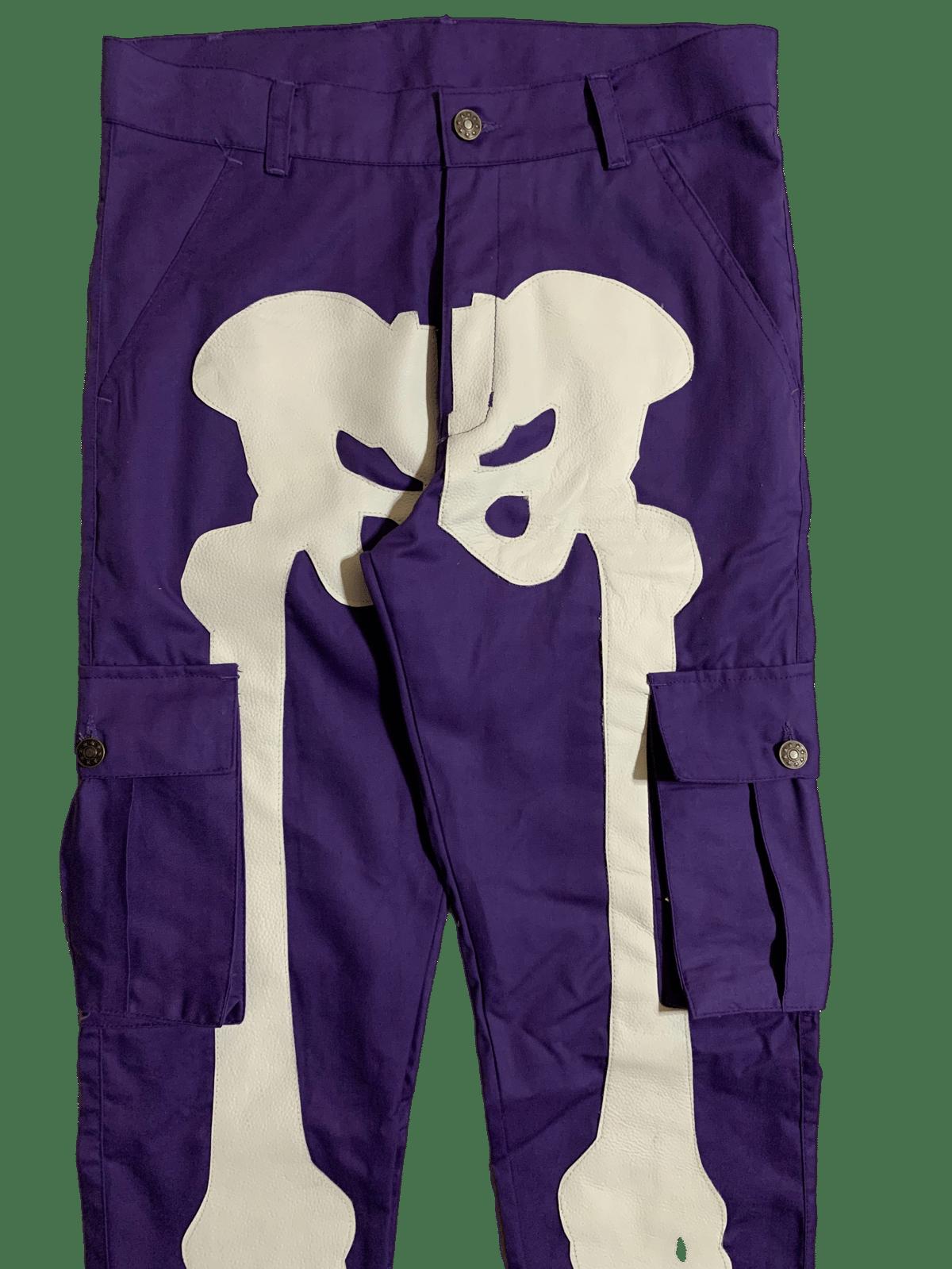 Image of PURPLE SUPER SKINNY BONES CARGO PANTS