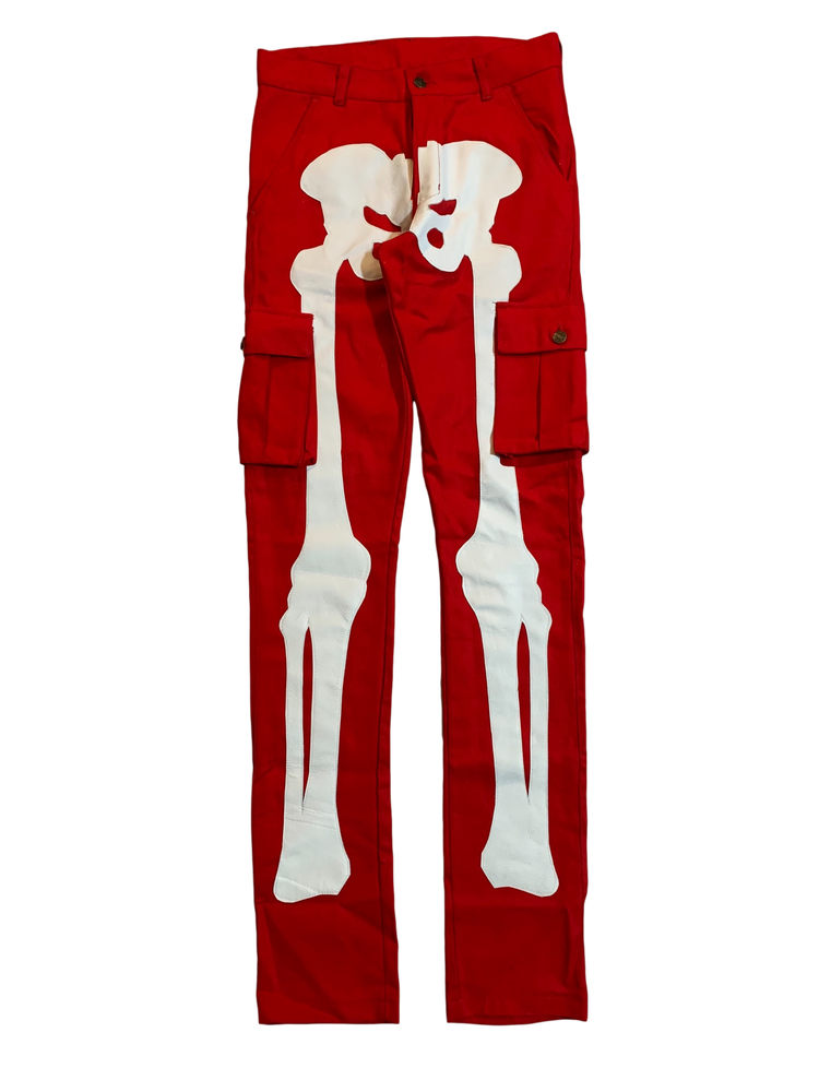 Image of BLOOD RED SUPER SKINNY BONES CARGO PANTS