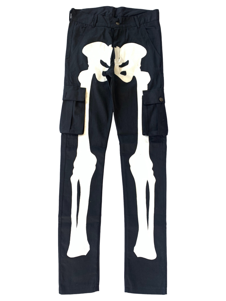 Image of BLACK SUPER SKINNY BONES CARGO PANTS