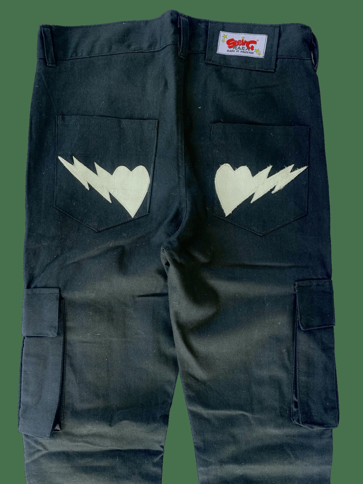 Image of BLACK SUPER SKINNY BONES CARGO PANTS
