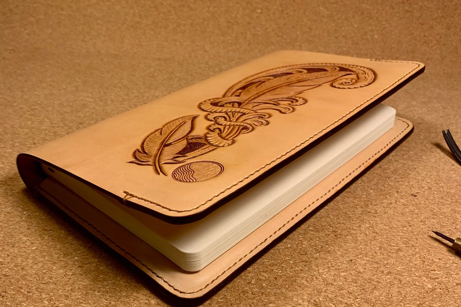 Image of Hand Tooled Feather Providence - Large Hardback Moleskine Journal
