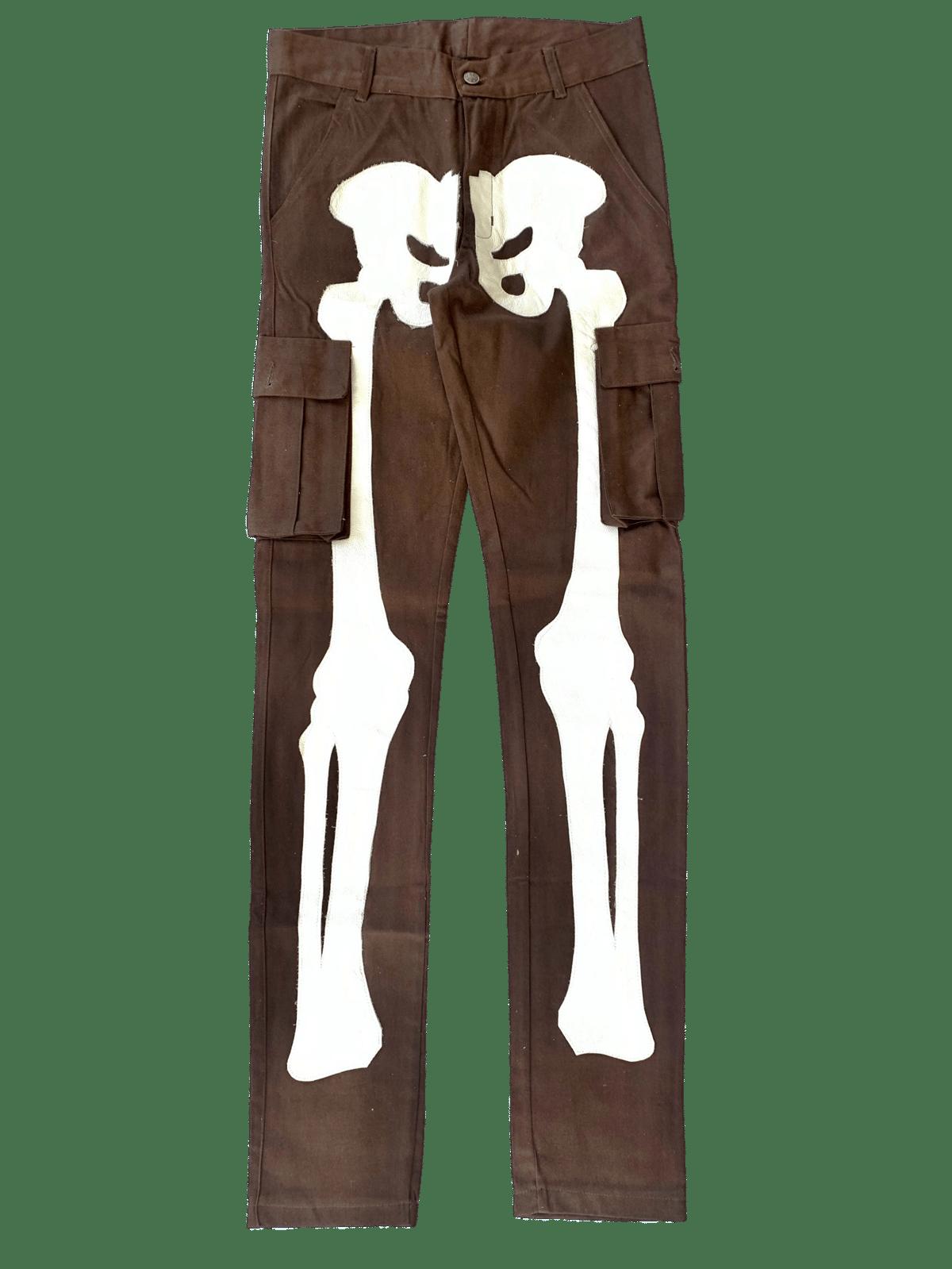 Image of MOCHA BROWN SUPER SKINNY BONES CARGO PANTS