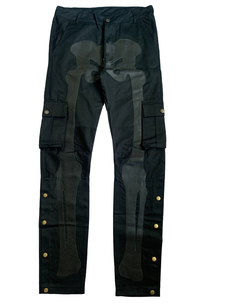 Image of MIDNIGHT BLACK SNAP CARGO BONE PANTS