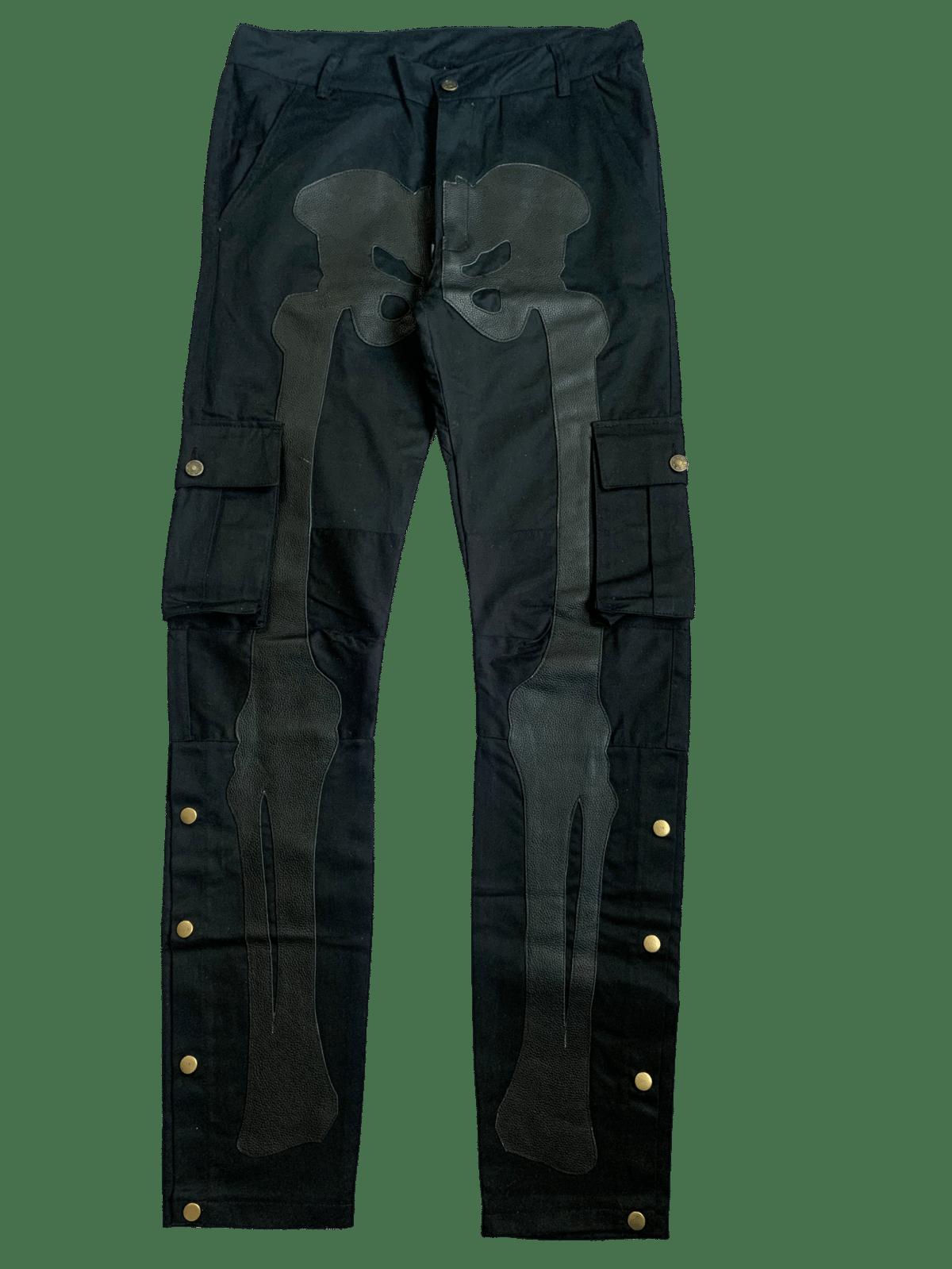 Image of MIDNIGHT BLACK SNAP CARGO BONE PANTS