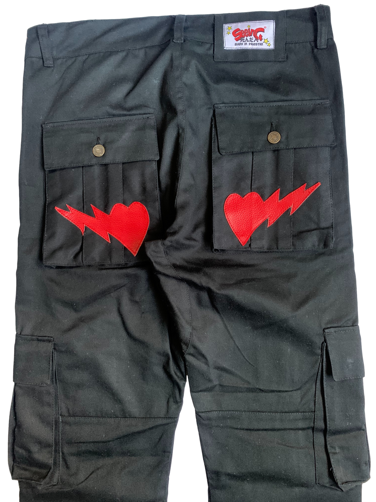 Image of BLACK AND RED SNAP CARGO BONE PANTS