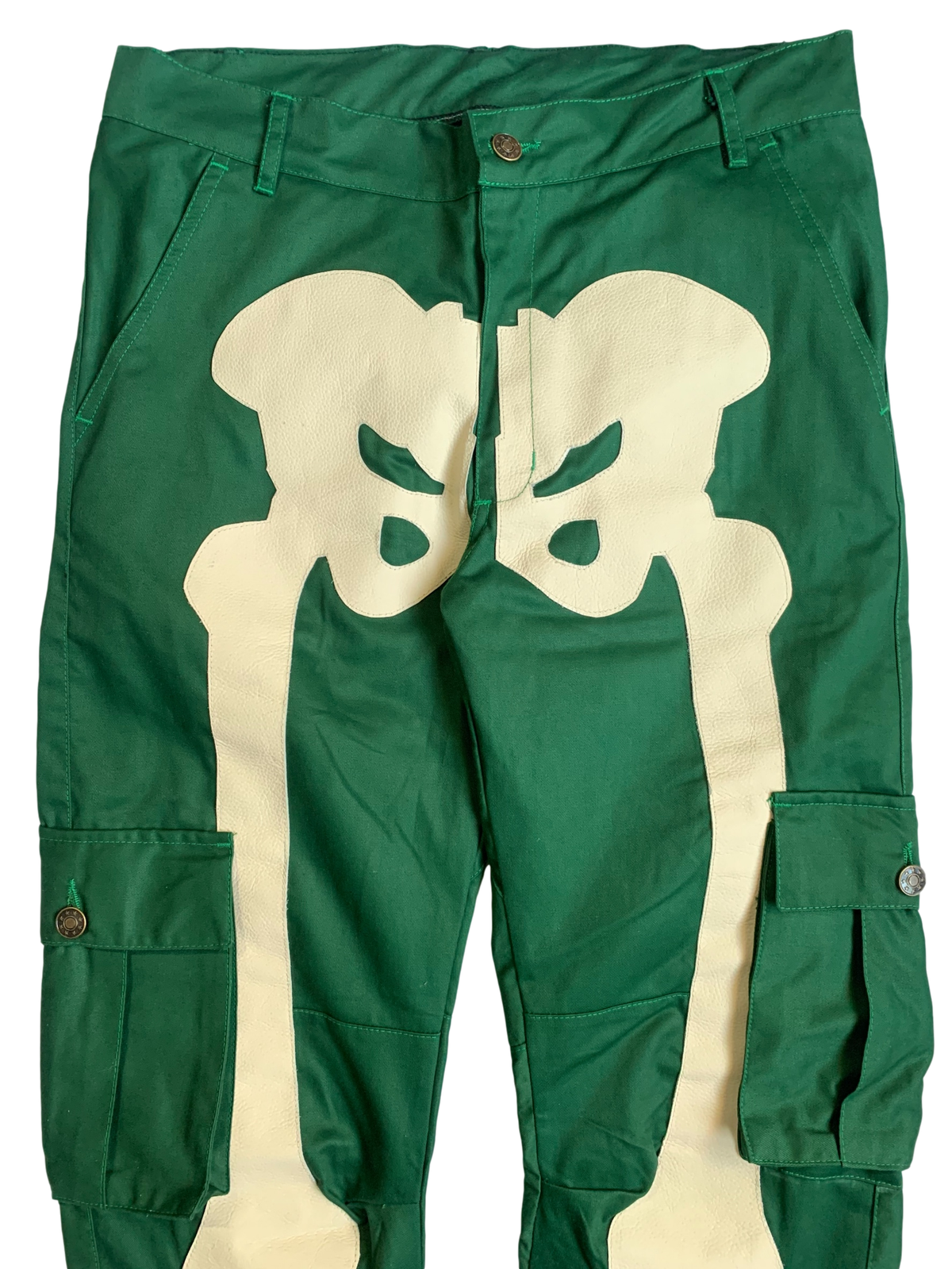 Image of FOREST GREEN AND CREAM SNAP CARGO BONE PANTS