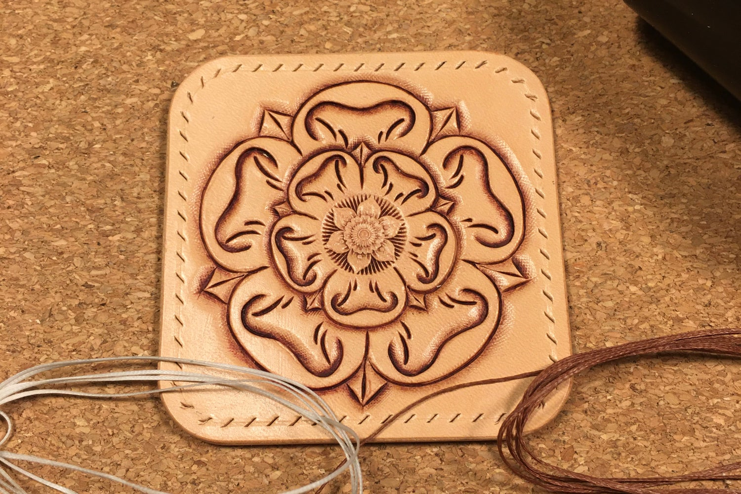 Image of Hand Carved Leather Sew-on Patch. Tudor / Yorkshire Rose (Square)