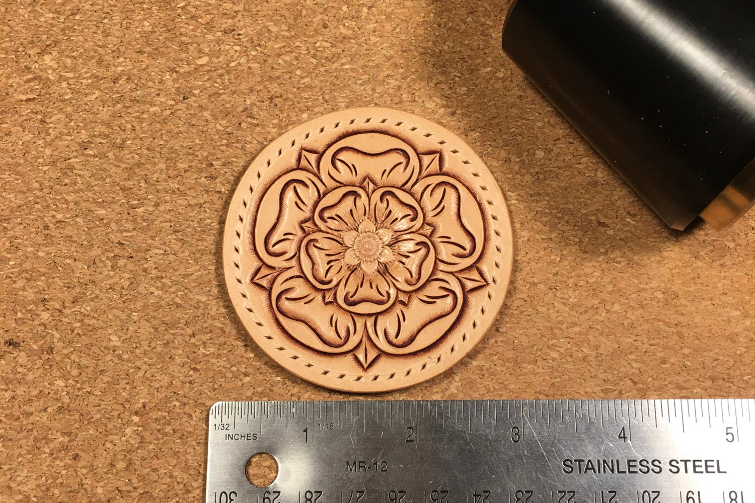 Image of Hand Carved Leather Sew-on Patch. Tudor / Yorkshire Rose (Circular)