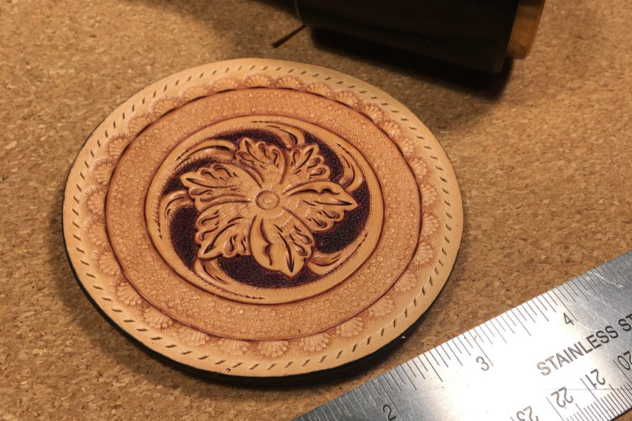 """Image of Large (4"""") Hand Carved Leather Sew-on Patch."""