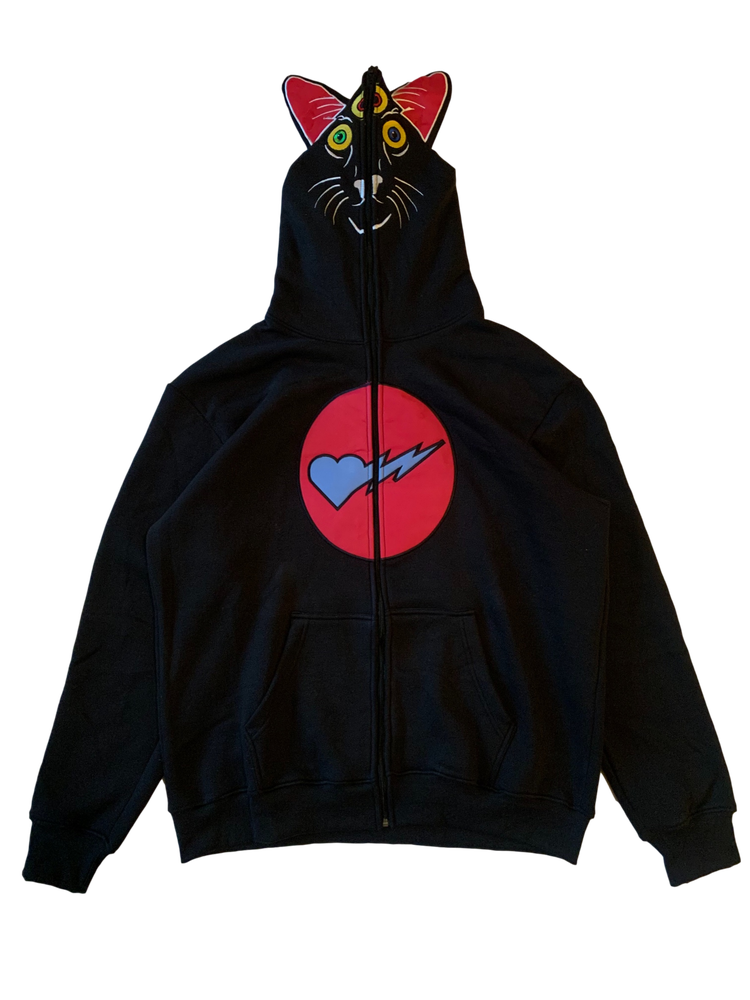Image of BLACK AJAX FULL ZIP HOODIE