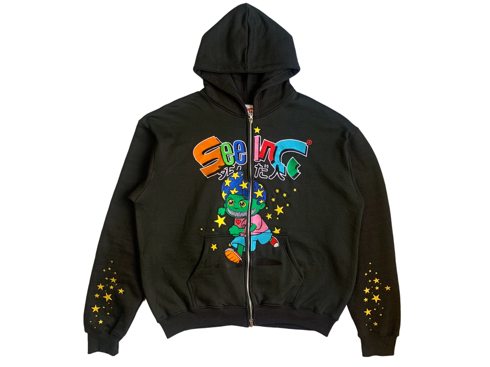 Image of BLACK CELESTIAL STARBOY OVERSIZED ZIP-UP HOODIE