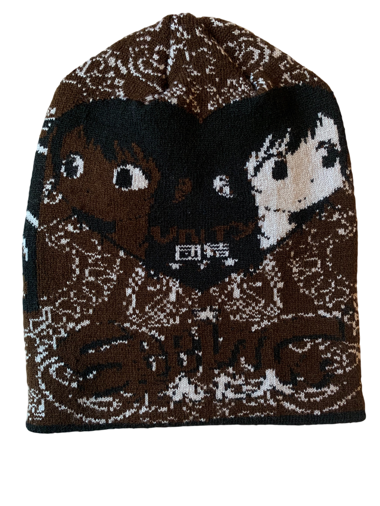 Image of SEEING UNITY BROWN PAISLEY KNIT BEANIE