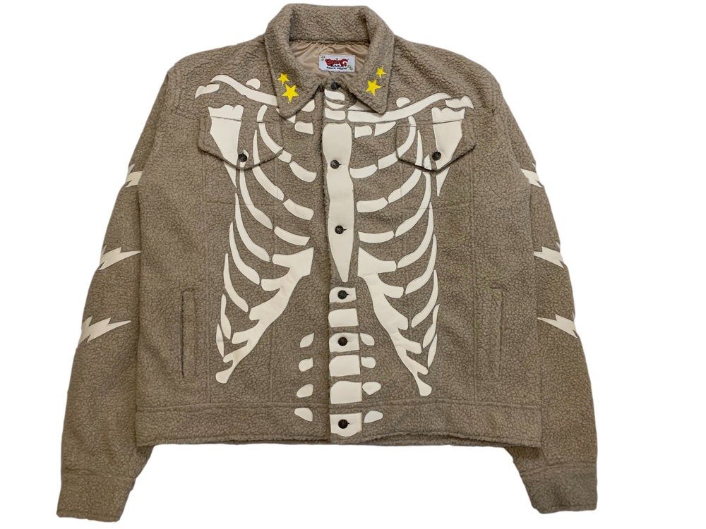 Image of CREAM SHERPA RIBCAGE BONE TRUCKER JACKET