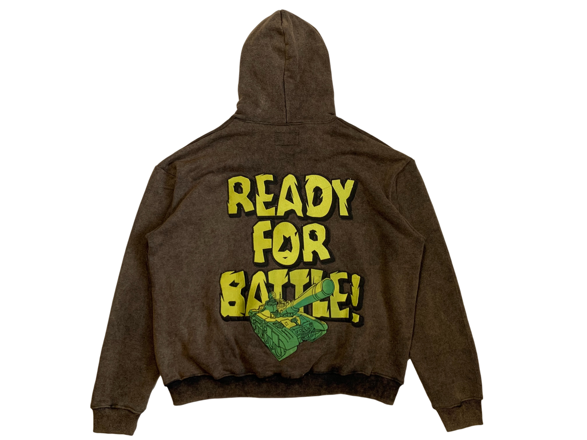 Image of VINTAGE BLACK BATTLE READY ZIP-UP HOODIE