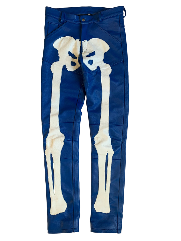 Image of ROYAL BLUE  BIKER BONES LEATHER PANTS