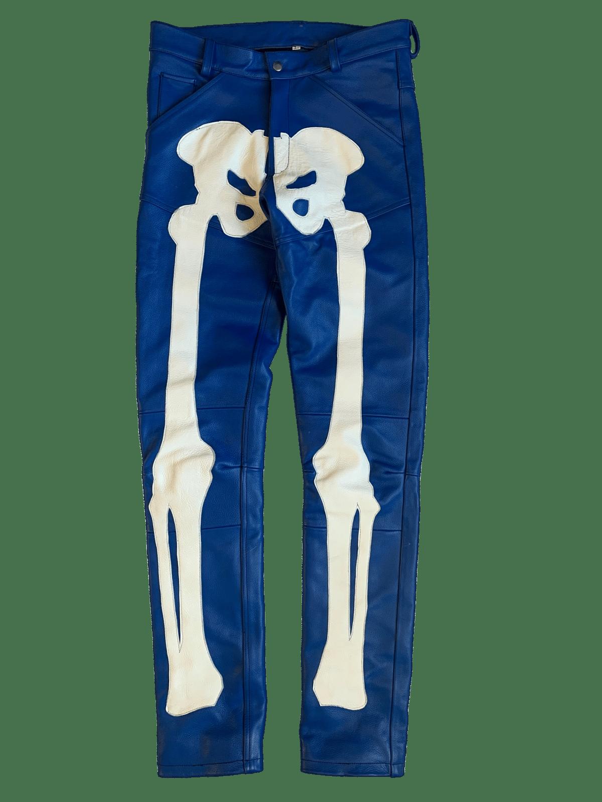 Image of ROYAL BLUE  BIKER BONES LEATHER PANTS