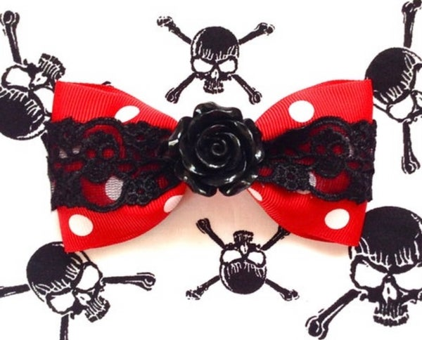 Image of SALE - Vintage Rose Skull and Dots Hair Bow - Red - Black Lace - Black Rose