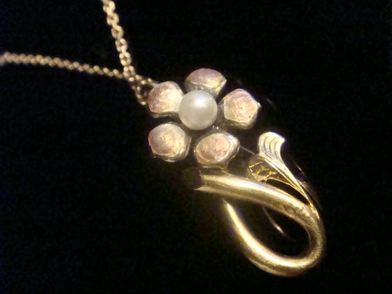 Image of ART NOUVEAU 18CT ENAMEL FLOWER WITH CULTURED PEARL NECKLACE ON 9CT CHAIN