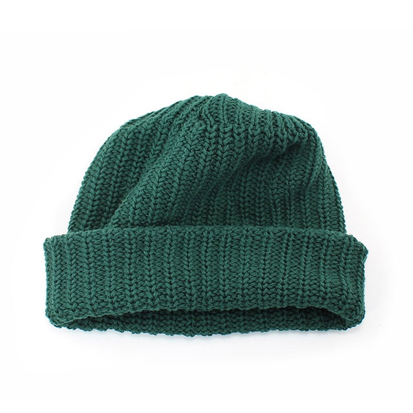Image of Green Cotton Knit USA Made Beanie