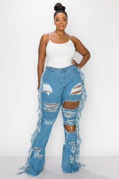 Image of SIDE BAR RIPPED JEANS