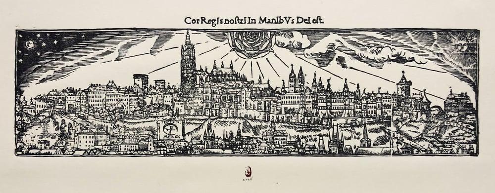 Image of Original Woodcut of Magical Prague according to Ioannes Willenberg